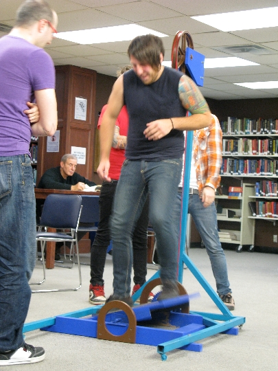 Pulley Wedgie http://willkrause.com/2009/10/26/silent-library-wedgie-machine/