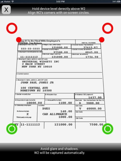 TurboTax – iPad W-2 Scan – Idea Sketches