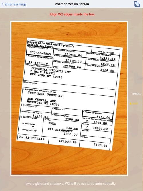 TurboTax – iPad W-2 Scan – Wireframe