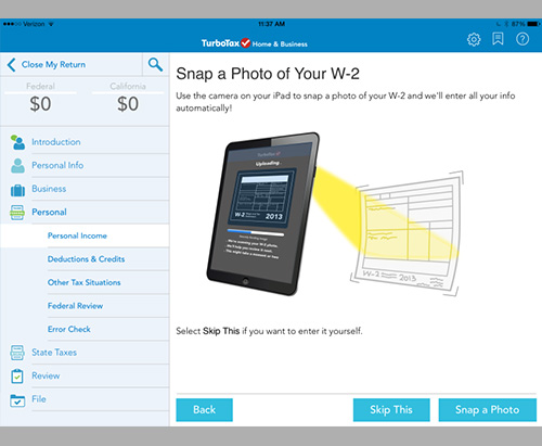 "TurboTax ""Snaptax – iPad W-2 Scan"